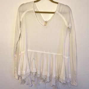 Free People Ruffled Distressed Long Sleeve